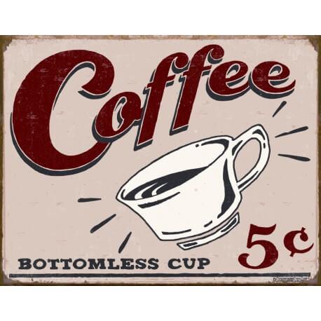"""Plaque publicitaire métal """"Coffee"""""""