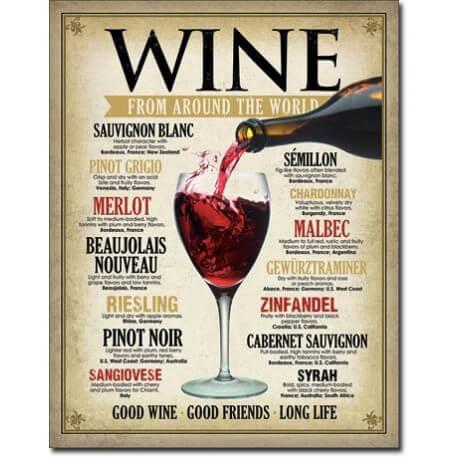 """Plaque publicitaire métal """"Wine"""""""