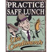 Plaque publicitaire métal Practice safe lunch