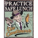 """Plaque publicitaire métal """"Practice safe launch"""""""