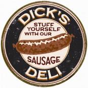 Plaque publicitaire métal ronde Dick's sausage