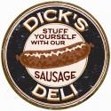 """Plaque publicitaire métal ronde """"Dick's sausage"""""""