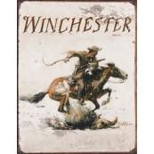"""Plaque publicitaire métal """"Winchester cowboy"""""""