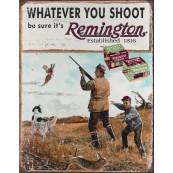 """Plaque publicitaire métal """"Chasseur Remington"""""""