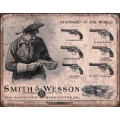 """Plaque publicitaire métal """"Smith et Wesson cowboy"""""""