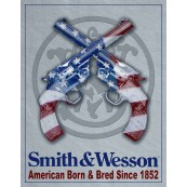 Plaque publicitaire métal Smith et Wesson flag USA
