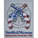 """Plaque publicitaire métal """"Smith et Wesson flag USA"""""""