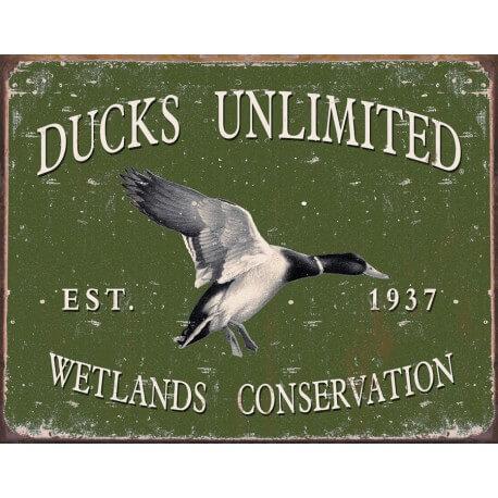 """Plaque publicitaire métal """"Ducks Unlimited"""""""