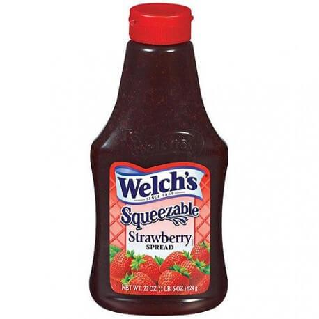 Confiture gelée de Fraise Welch's: « Welch's strawberry Jelly – Squeezey»