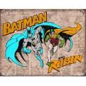"""Plaque publicitaire métal """"Batman et Robin"""""""