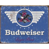 """Plaque publicitaire métal """"Budweiser bleu"""""""