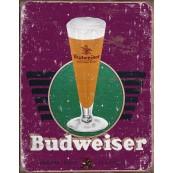 Plaque publicitaire métal Budweiser mauve