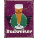 """Plaque publicitaire métal """"Budweiser mauve"""""""
