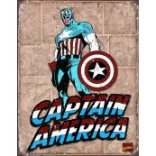 """Plaque publicitaire métal """"Captain América bleu"""""""