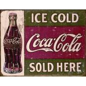 """Plaque publicitaire métal """"Coca-Cola ice cold"""""""