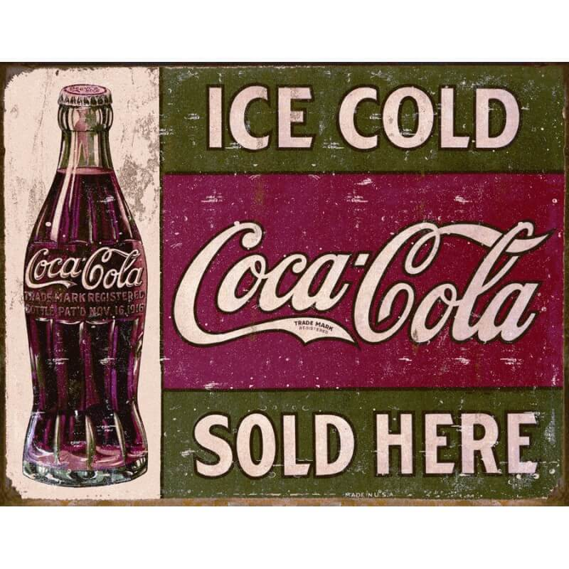 plaque publicitaire coca cola ice cold us way of life. Black Bedroom Furniture Sets. Home Design Ideas
