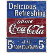 "Plaque publicitaire métal ""Coca-Cola Delicious Refreshing"""