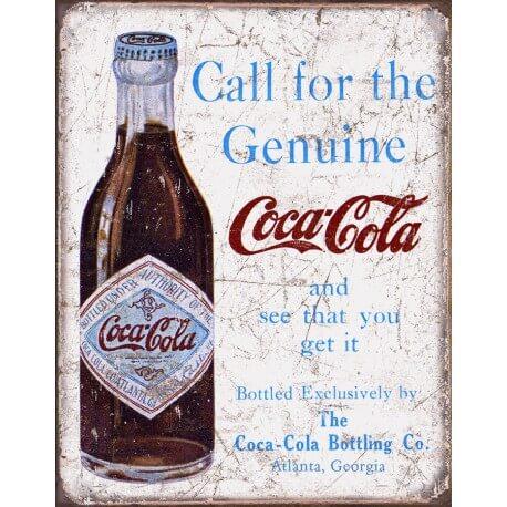 plaque publicitaire coca cola call the genuine us way of. Black Bedroom Furniture Sets. Home Design Ideas