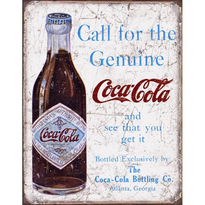 plaque publicitaire coca cola call the genuine us way of life. Black Bedroom Furniture Sets. Home Design Ideas