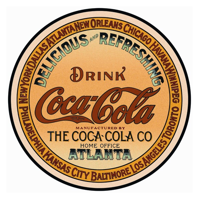 plaque publicitaire ronde coca cola home us way of life. Black Bedroom Furniture Sets. Home Design Ideas