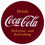 Plaque publicitaire métal ronde Coca-Cola rouge
