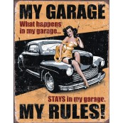 Plaque publicitaire métal My garage pin-up