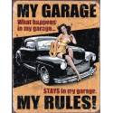 "Plaque publicitaire métal ""My garage pin-up"""
