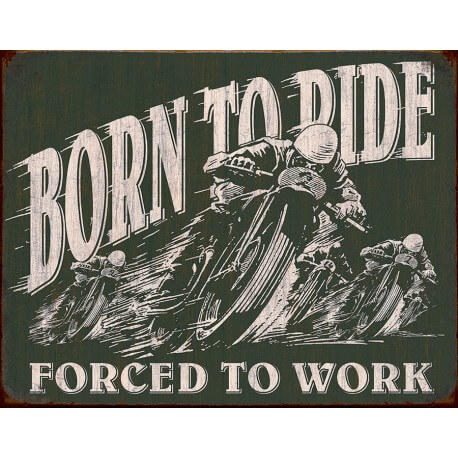 "Plaque publicitaire métal ""Born to ride"""