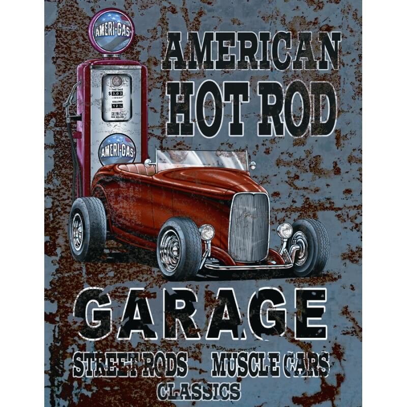 plaque publicitaire american hot rod us way of life. Black Bedroom Furniture Sets. Home Design Ideas
