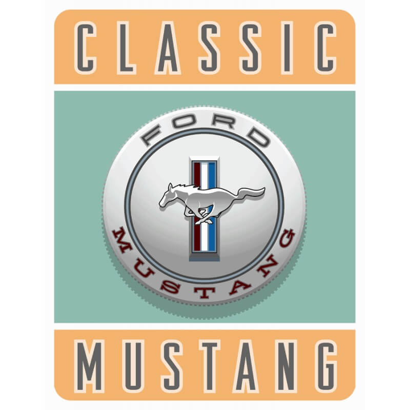 plaque publicitaire ford mustang classic us way of life. Black Bedroom Furniture Sets. Home Design Ideas