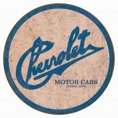 Plaque publicitaire métal ronde Chevrolet motor cars