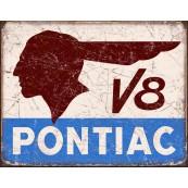 Plaque publicitaire métal Pontiac V8