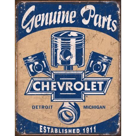 """Plaque publicitaire métal """"Chevrolet Genuine parts"""""""