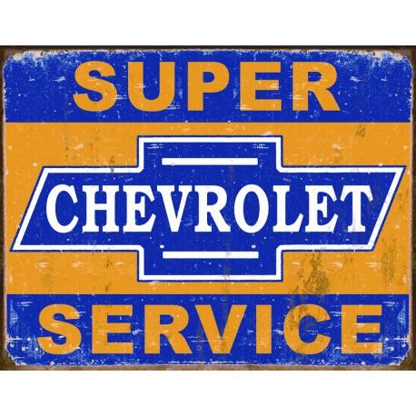 """Plaque publicitaire métal """"Chevrolet super service"""""""