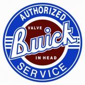 """Plaque publicitaire métal ronde """"Buick Authorized service"""""""
