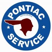 """Plaque publicitaire métal ronde """"Pontiac service"""""""