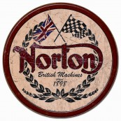 Plaque publicitaire métal ronde Norton British machines