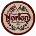 "Plaque publicitaire métal ronde ""Norton British machines"""