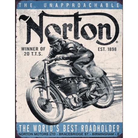 """Plaque publicitaire métal """"Norton the world best"""""""