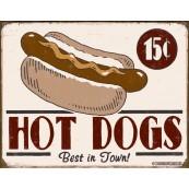Plaque publicitaire métal Hot Dogs
