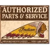 """Plaque publicitaire métal """"Indian Motorcycles authorized parts and service"""""""