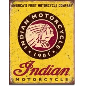 "Plaque publicitaire métal ""Indian Motorcycles America's First company"""