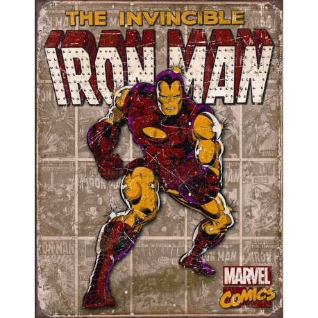 "Plaque publicitaire métal ""Iron Man The invicible"""