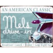 Plaque publicitaire métal Mel's drive-in