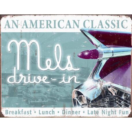 """Plaque publicitaire métal """"Mel's drive-in"""""""