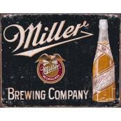 Plaque publicitaire métal Miller noir