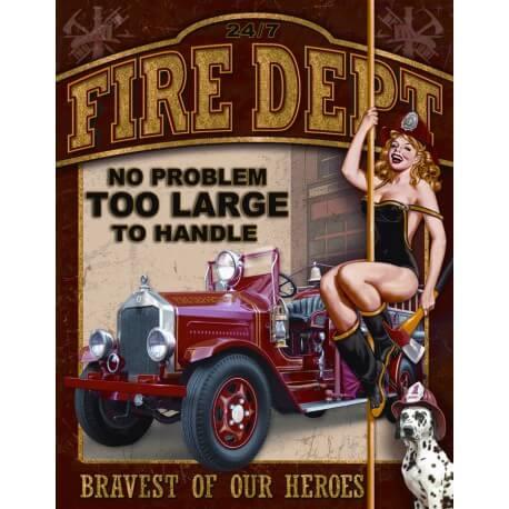 """Plaque publicitaire métal """"Fire dept"""""""