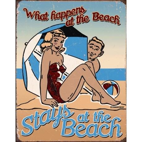 """Plaque publicitaire métal """"What Happens at the beach"""""""