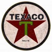 """Plaque publicitaire métal ronde """"Texaco"""""""