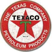 """Plaque publicitaire métal ronde """"Texaco rouge texas"""""""